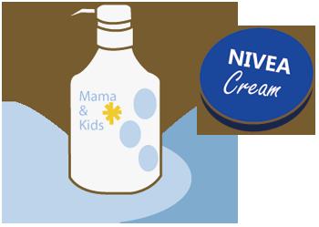 ママ&キッズ ナチュラルマーククリーム とニベアの青缶を使用